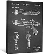 JP London scnvjsc09Zukunft Star Phaser Ray Gun Alien Trek 5,1cm Dick Vintage Kreidetafel Galerie Wrap Leinwand Patent Art, 40,6x 30,5cm schwarz/weiß
