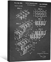 JP London scnvjsc25Block Stück Brick Lego Kunst 5,1cm Dick Vintage Kreidetafel Galerie Wrap Leinwand Patent Art, 40,6x 30,5cm schwarz/weiß