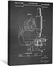 JP London scnvjsc26Science Teacher Mikroskop Art 5,1cm Dick Vintage Kreidetafel Galerie Wrap Leinwand Patent Art, 40,6x 30,5cm schwarz/weiß
