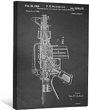 JP London scnvjsc27American Soldier of Fortune Machine Gun Art 5,1cm Dick Vintage Kreidetafel Galerie Wrap Leinwand Patent Art, 40,6x 30,5cm schwarz/weiß