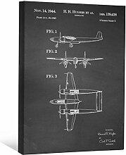 JP London scnvjsc28Howard Hughes Speed Flight Flugzeug retro 5,1cm Dick Vintage Kreidetafel Galerie Wrap Leinwand Patent Art, 40,6x 30,5cm schwarz/weiß