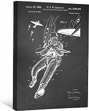 JP London scnvjsc32Bulletproof Krieg Combat Uniform Art 5,1cm Dick Vintage Kreidetafel Galerie Wrap Leinwand Patent Art, 40,6x 30,5cm schwarz/weiß