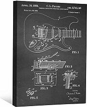 JP London scnvjsc356bar Gitarre Profil Fender 5,1cm Dick Vintage Kreidetafel Galerie Wrap Leinwand Patent Art, 40,6x 30,5cm schwarz/weiß