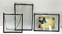JPZCDK Glasrahmen doppelseitige Wandbehang