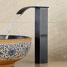 JRUIA Automatischer Infrarot Sensor Kaltwasser Wasserhahn Vollautomatik IR Wasserfall Waschtischarmatur Bad Waschbecken Armatur Hoher Auslauf aus Messing Schwarz Öl Eingerieben Bronze (H29cm)