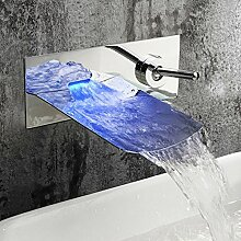 JRUIA Chrom Wandmontage LED Wasserfall Bad