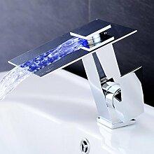 JRUIA Design LED 3 Farbewechsel Wasserhahn Bad