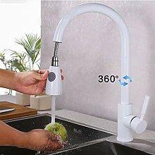 JRUIA Elegant Weiß Ausziehbar Küche Wasserhahn