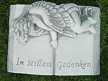 JS GartenDeko Beton Figur Buch mit Aufschrif
