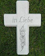 JS GartenDeko Beton Figur Kreuz mit Aufschrift in