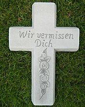 JS GartenDeko Beton Figur Kreuz mit Aufschrift Wir