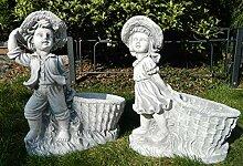 JS GartenDeko Beton Figur Mädchen und Junge mit