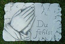 JS GartenDeko Beton Figur Tafel mit Aufschrift Du