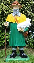 JS GartenDeko Dekofigur Schäfer stehend mit Lamm