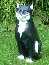 JS GartenDeko Figur Katze Höhe 45 cm Tierskulptur aus Kunstharz
