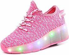 JSHOE LED-Schuhe Leuchtende Schuhe Casual Sport Pulley Schuhe Männer Und Frauen Jungen Mädchen Als Geschenk,Pink-37EU