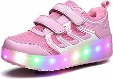 JSHOE Unisex LED Schuhe Leuchtende Schuhe Casual Sport Pulley Schuhe Männer Und Frauen Jungen Mädchen Als Geschenk,Pink-41EU