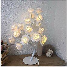 JSJJARF Tischlampe LED-weiße Rosen-Blumen-Nacht