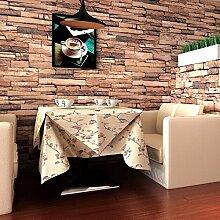 JSLCR Backstein Muster Tapete Wohnzimmer TV Hintergrund Wallpaper Shop Restaurant, Hotel und Café Bar Tapeten,Braun