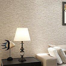 JSLCR Chinesische Rattan Leinwandbindung Leinen Streifen Muster Tapete einfach moderne Wohn-Schlafraum Vliestapete,Hellbeige