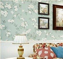 JSLCR Frisch und nicht gewebte Stoff Stanzen American pastoral Wohnzimmer Schlafzimmer Tapeten Hochzeitsblumen blau grüne Tapete,M weiss