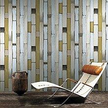 JSLCR Klassischen mediterranen Stil PVC Nachahmung Holz Tapete Wohnzimmer TV vertikale Holzmaserung Hintergrundbild speichern,Gelb