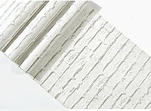 JSLCR Retro 3D Backstein Muster Tapete, einfache modische Damenbekleidung Shop Tapeten dekorieren,Kunst weiß