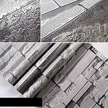 JSLCR Salon Salon 3D Backstein Muster Tapete Retro-Barber Ziegel Wand-Hintergrundpapiere,Erweiterte dunkelgrau