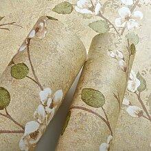JSLCR US-amerikanischer Country Tapeten Kleber verklebt Tuch Retro-Garten Schlafzimmer Wohnzimmer Sofa TV Vintage-Stil Tapete,Ingwer