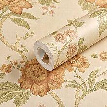 JSLCR Vintage American Country Garten Blumen Tapete Klebstoff verklebt Tuch Schlafzimmer Wohnzimmer Sofa TV Hintergrundbild,Beige