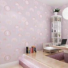 JSLCR Warmen rosa Schlafzimmer Wohnzimmer Tapete, non-Woven Tuch lila koreanischen Heimat Tapete,Hellgelb