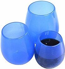 JSS Silikon Weinglas, Lebensmittelqualität Hochwertige Wein-Cup, Silikon, blau, M