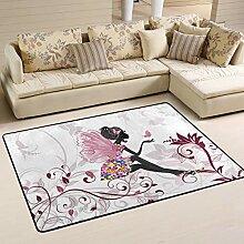 Jsteel Teppich, waschbar, weich, Blumenfee mit