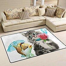 Jsteel Teppich, waschbar, weich, für Wohnzimmer,