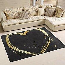 Jsteel Teppich, waschbar, weich, mit goldfarbenem