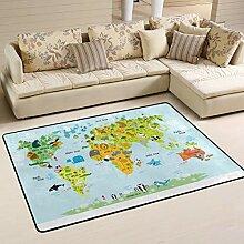 Jsteel Teppich, waschbar, weich, Motiv Weltkarte