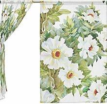jstel 2Pcs Voile Fenster Vorhang, Vintage elegante Gorgeous, Tüll mit Blumenmuster Sheer Vorhang Tuch Querbehang 139,7x 198,1cm Zwei scheibenelementen Set, Polyester, blau, 55x78x2(in)