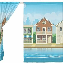 jstel 2Pcs Voile Fenster Vorhang, Vintage Reise Tourismus Stadt, Tüll reine Vorhang Tuch Querbehang 139,7x 198,1cm Zwei scheibenelementen Set, Polyester, blau, 55x78x2(in)