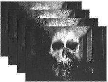 jstel Alaza Horror Totenkopf schwarz und weiß