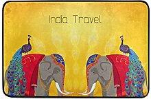 JSTEL Elefanten- und Pfauen Fußmatte waschbar