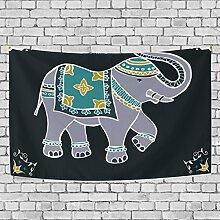 jstel Festive typische indische Elefant Wandteppich für Dekoration für Wohnung Home Decor Wohnzimmer Tisch Überwurf Tagesdecke Wohnheim 152,4x 101,6cm, Textil, multi, 90x60 inch