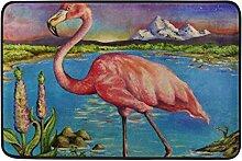 JSTEL Flamingo-Fußmatte waschbar Garten Büro