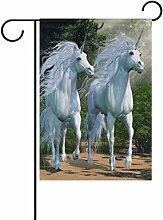 jstel Home Zwei Einhörner Polyester-Forest-Garten Flaggen Lovely und Schimmelresistent Custom von Wasserdicht 30,5x 45,7cm