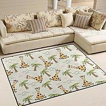 JSTEL INGBAGS Teppich mit Giraffe und Palmen, sehr