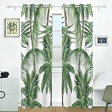 JSTEL Palmen Tropische Blätter Vorhänge