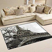 JSTEL Teppich, waschbar, weich, Eiffelturm, 90 x