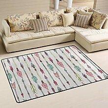 JSTEL Teppich, waschbar, weich, mit indianischen