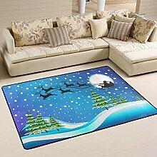 JSTEL Teppich, waschbar, weich, Weihnachtsmann mit