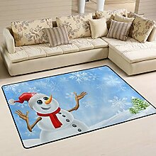 JSTEL Teppich, waschbar, weich, Weihnachtsmotiv
