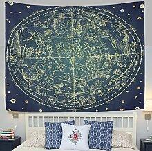 jstel Wandteppich für 12Constellation Universe Galaxy Space Stars Wand Überwurf Wohnheim Decor Gobelin 152,4x 101,6cm, Polyester, blau, 80x60(in)